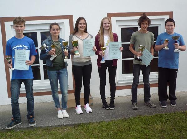 Die SiegerInnen des A-Turniers vlnr.: Benedikt BERTEL (4. Platz, 4 Pkt., 16,5 Bh.), Angelina ZHBANOVA (1. Platz, 4,5 Pkt., 17 Bh.), Belma SAKIC (18. Platz, 3 Pkt., 12,5 Bh.), Miriam WURZER (19. Platz, 3 Pkt., 12,5 Bh.), Fanninger LEON (3. Platz, 4 Pkt., 18,5 Bh.), Gor TUMANYAN (1. Platz, 4,5 Pkt., 17 Bh.)